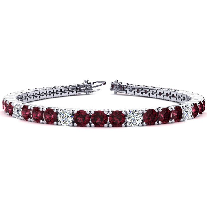 6.5 Inch 9 1/4 Carat Garnet and Diamond Alternating Tennis Bracelet In 14K White Gold 42286
