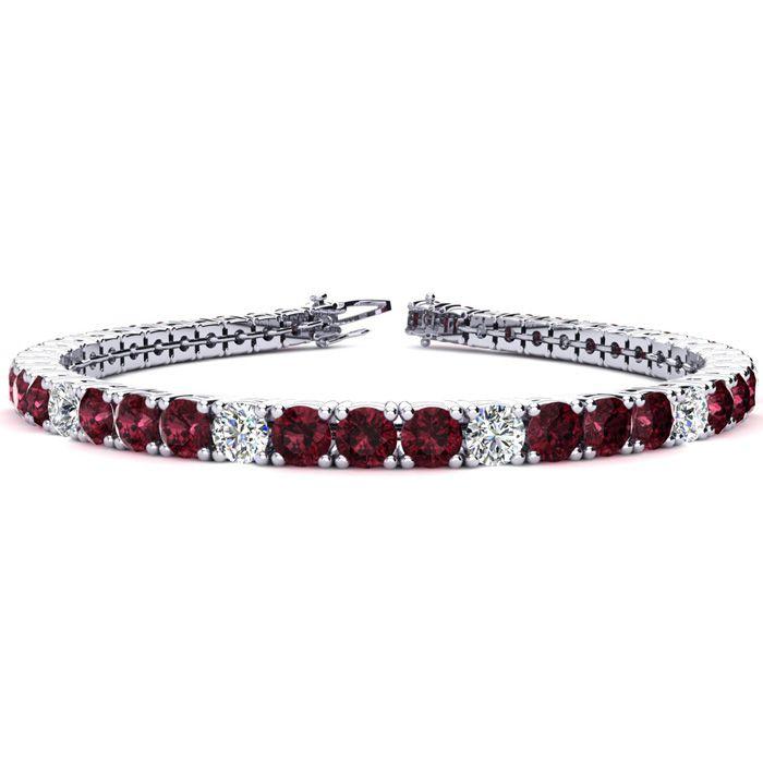 7.5 Inch 10 1/2 Carat Garnet and Diamond Alternating Tennis Bracelet In 14K White Gold 42288