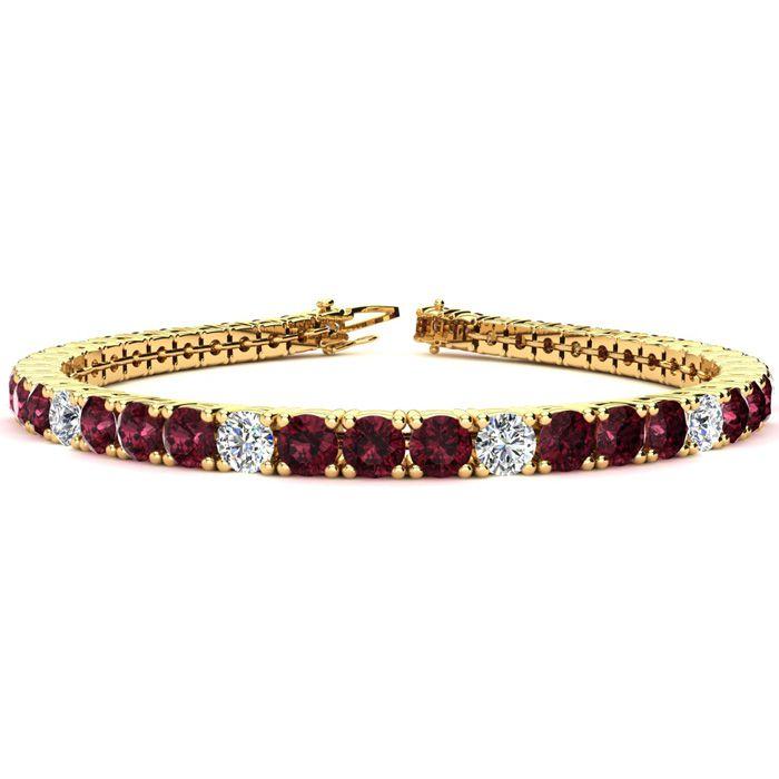 10 1/2 Carat Garnet & Diamond Alternating Tennis Bracelet in 14K Yellow Gold (12.9 g)