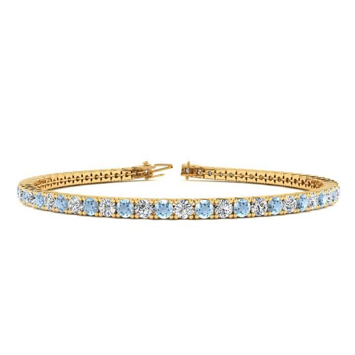 3 1/2 Carat Aquamarine & Diamond Tennis Bracelet in 14K Yellow Gold (8.7 g)
