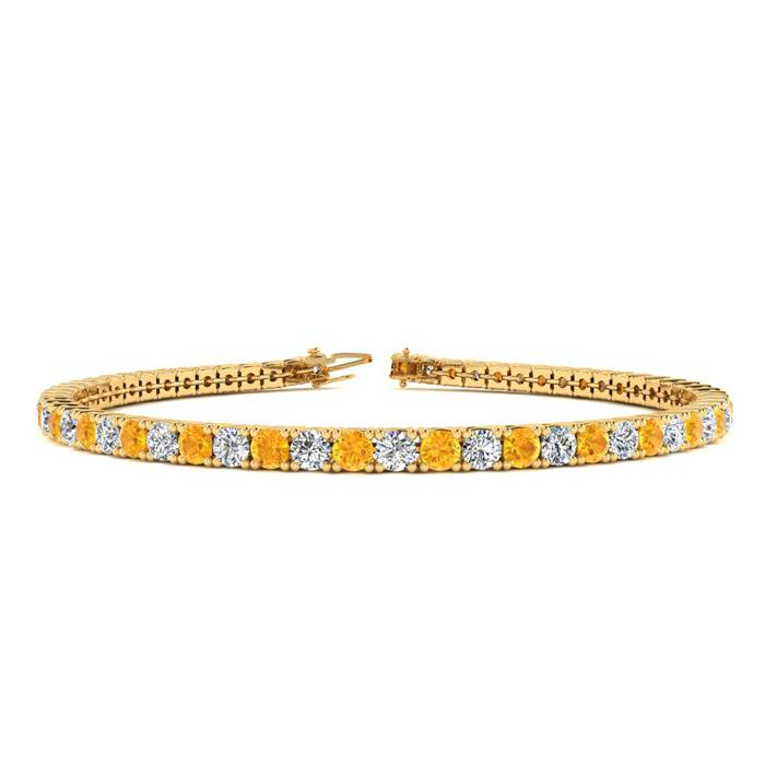3 1/2 Carat Citrine & Diamond Tennis Bracelet in 14K Yellow Gold (8.7 g)