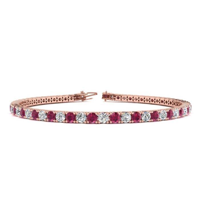5 Carat Ruby & Diamond Tennis Bracelet in 14K Rose Gold (10.7 g)