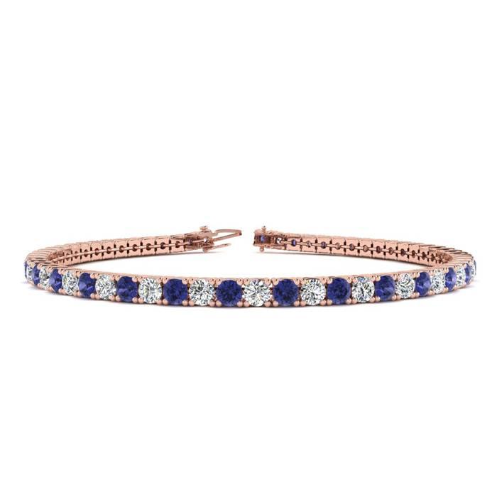 4 1/4 Carat Tanzanite & Diamond Tennis Bracelet in 14K Rose Gold (8.7 g)