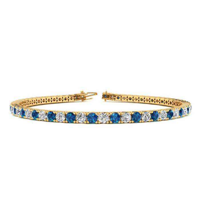 4 Carat Blue & White Diamond Tennis Bracelet in 14K Yellow Gold (9.4 g)