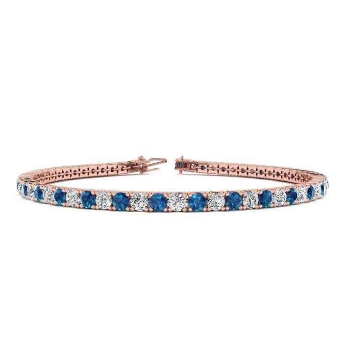 4 Carat Blue & White Diamond Tennis Bracelet in 14K Rose Gold (9.4 g)