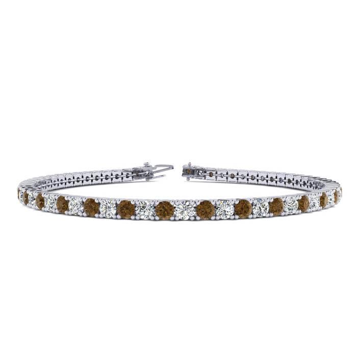 3 1/2 Carat Chocolate Bar Brown Champagne & White Diamond Tennis Bracelet in 14K White Gold (8.1 g)