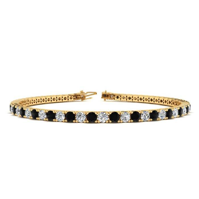 4 Carat Black & White Diamond Tennis Bracelet in 14K Yellow Gold (9.4 g)