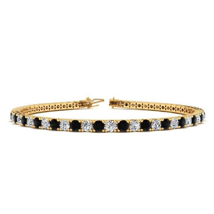 4 3/4 Carat Black & White Diamond Tennis Bracelet in 14K Yellow Gold (11.4 g)
