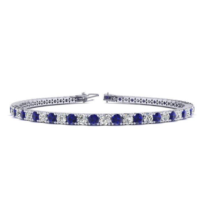4 1/4 Carat Sapphire & Diamond Tennis Bracelet in 14K White Gold (8.7 g)