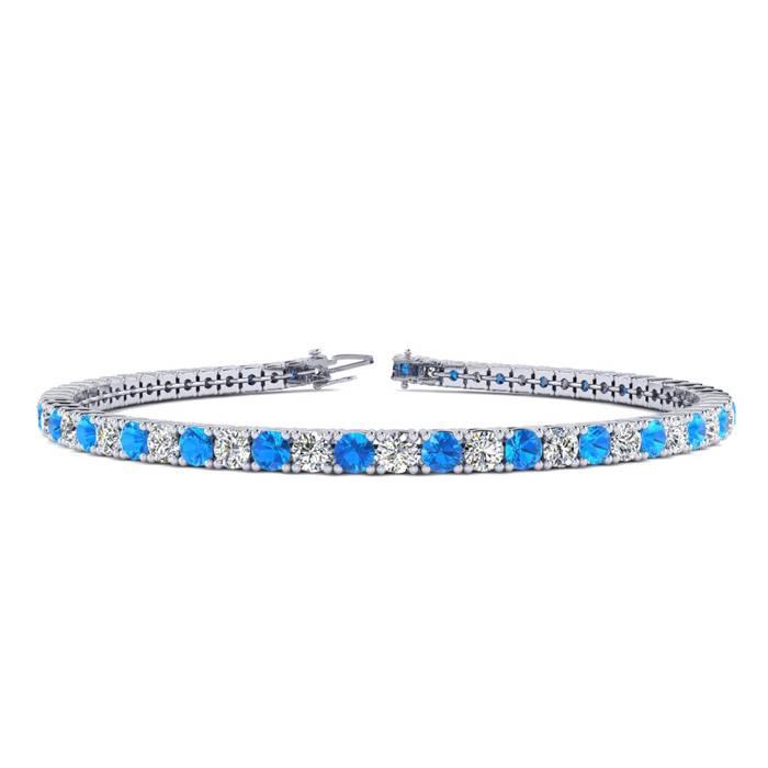 4 1/2 Carat Blue Topaz & Diamond Tennis Bracelet in 14K White Gold (9.4 g)