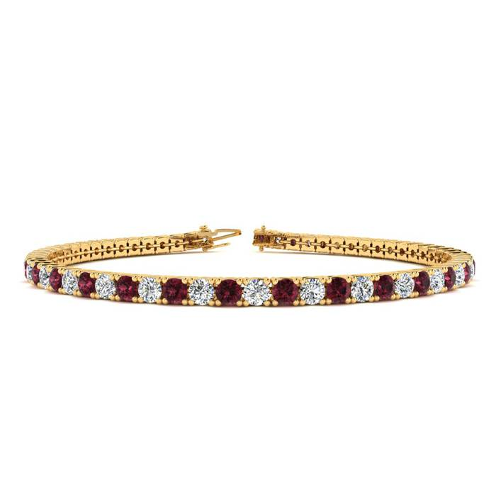 4 1/2 Carat Garnet & Diamond Tennis Bracelet in 14K Yellow Gold (10.1 g)