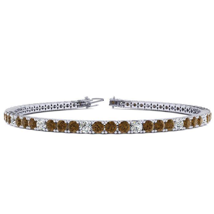 4 1/4 Carat Chocolate Bar Brown Champagne & White Diamond Alternating Tennis Bracelet in 14K White Gold (10.1 g)