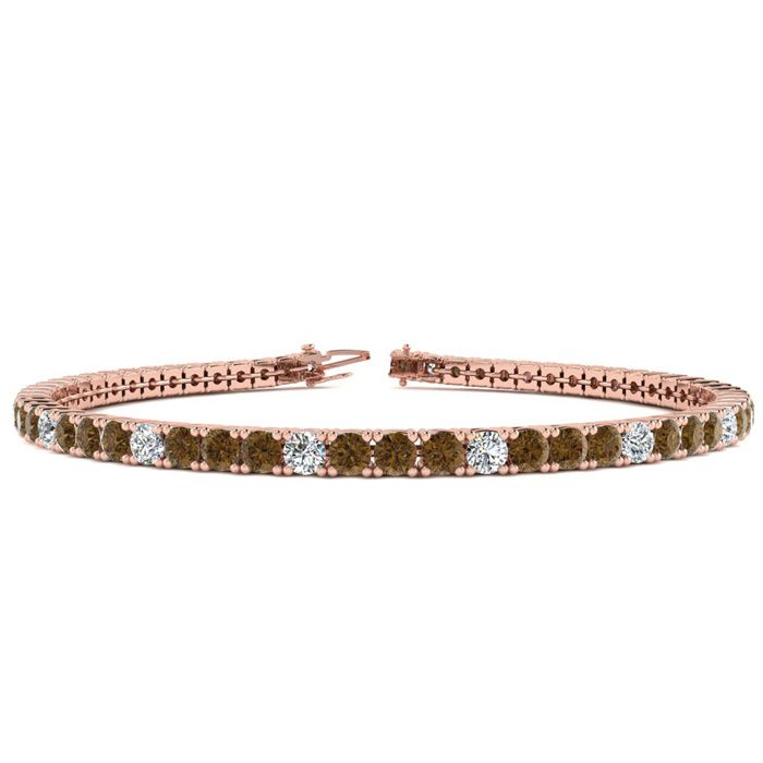 4 3/4 Carat Chocolate Bar Brown Champagne & White Diamond Alternating Tennis Bracelet in 14K Rose Gold (11.4 g)