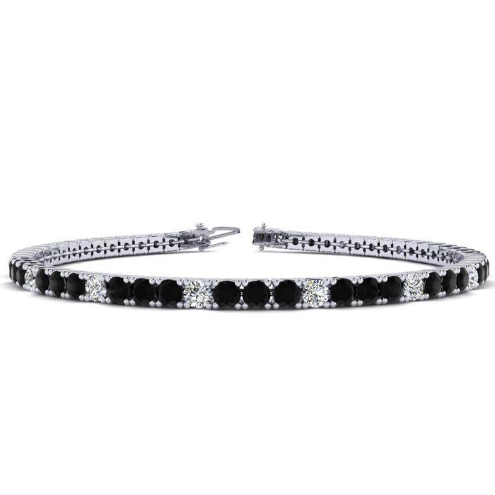 4 1/4 Carat Black & White Diamond Alternating Tennis Bracelet in 14K White Gold (10.1 g)