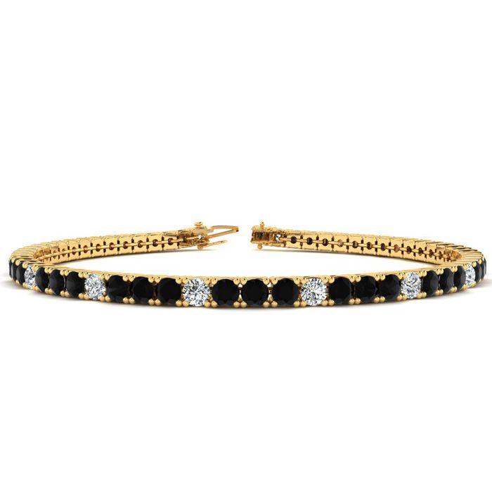 d2bccd17e61c6 Black Gemstones   7 Inch 4 Carat Black And White Alternating Diamond ...