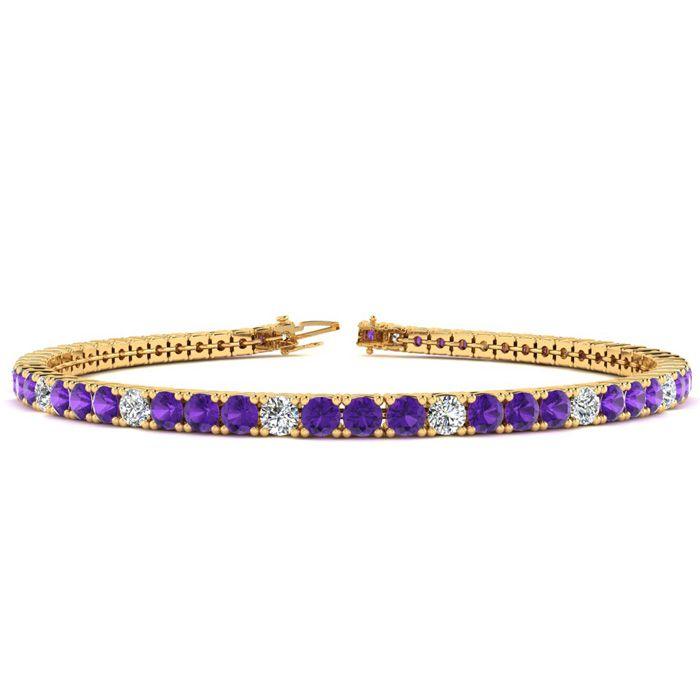 8 Inch 4 1/2 Carat Amethyst & Diamond Alternating Tennis Bracelet in 14K Yel..