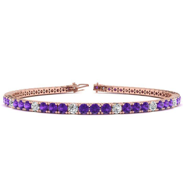 7.5 Inch 4 1/4 Carat Amethyst & Diamond Alternating Tennis Bracelet in 14K R..