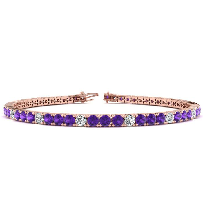 8 Inch 4 1/2 Carat Amethyst & Diamond Alternating Tennis Bracelet in 14K Ros..