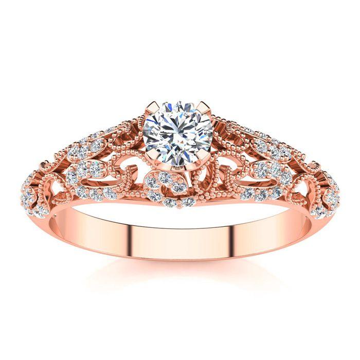 12 Carat Vintage Diamond Engagement Ring In 14 Karat Rose Gold