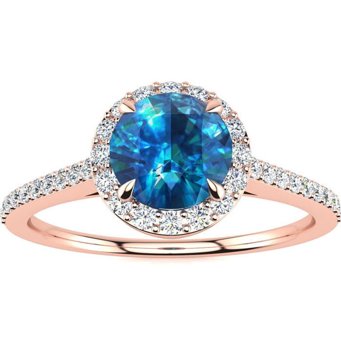 rose diamond blue gold engagement rings ring