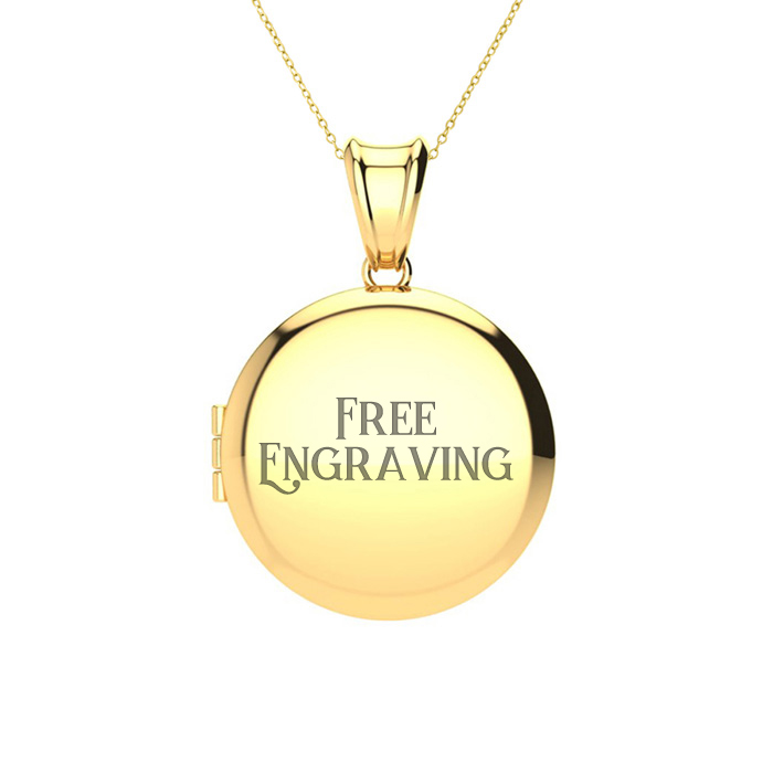Image of 14K Yellow Gold Small Round Locket With Free Custom Engraving, 18 Inches, Can Hold Up To Two Pictures!