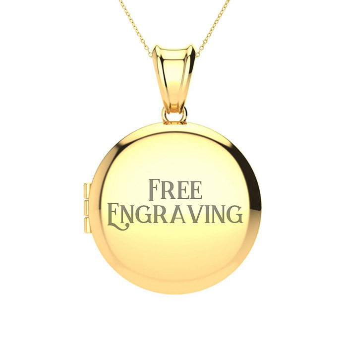 14K Yellow Gold Medium Round Locket With Free Custom Engraving, 18 Inches , ..