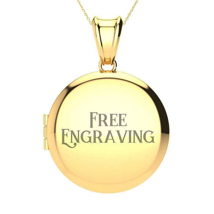 14K Yellow Gold Large Round Locket With Free Custom Engraving, 18 Inches, Ca..