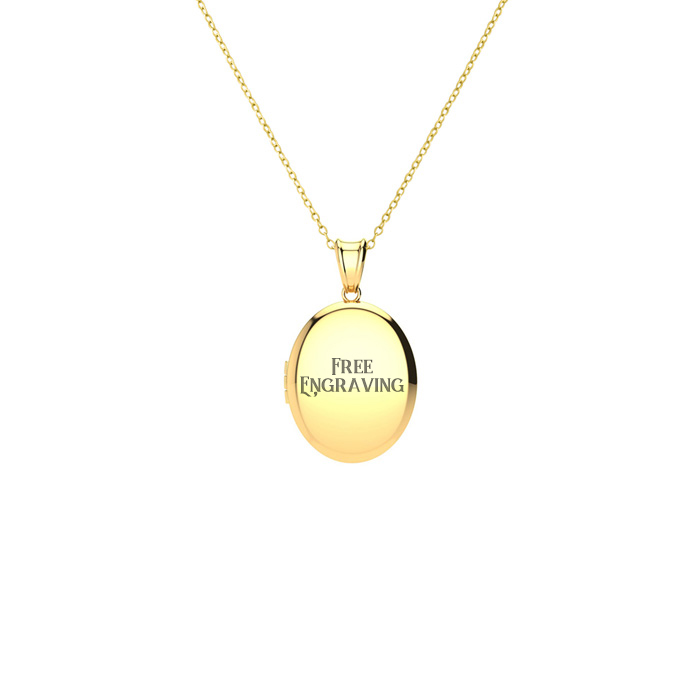 Image of 14K Yellow Gold Small Oval Locket With Free Custom Engraving, 18 Inches, Can Hold Up To Two Pictures!