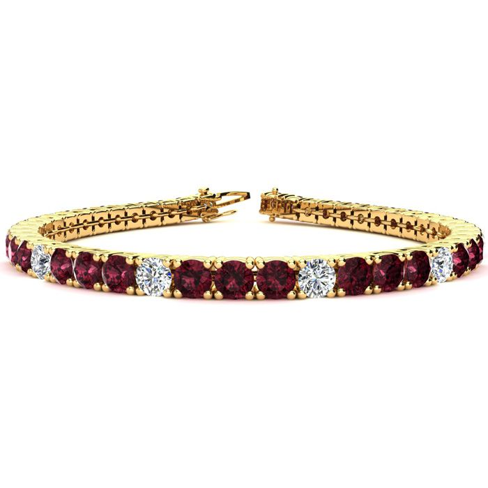 10 1/2 Carat Garnet & Diamond Graduated Tennis Bracelet in 14K Yellow Gold (10.3 g)