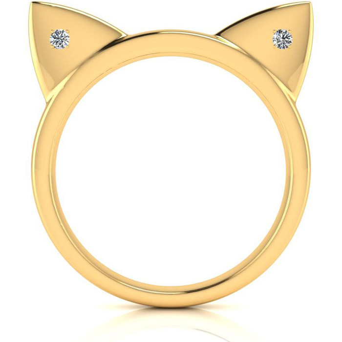 Diamond Accent Cat Ears Ring In Yellow Gold Over Sterling Silver Item Number Jwl 42853