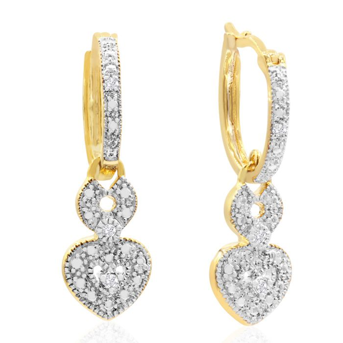 Image of 0.07 Carat Floating Diamond Heart Hoop Earrings In Yellow Gold Overlay, 1 Inch