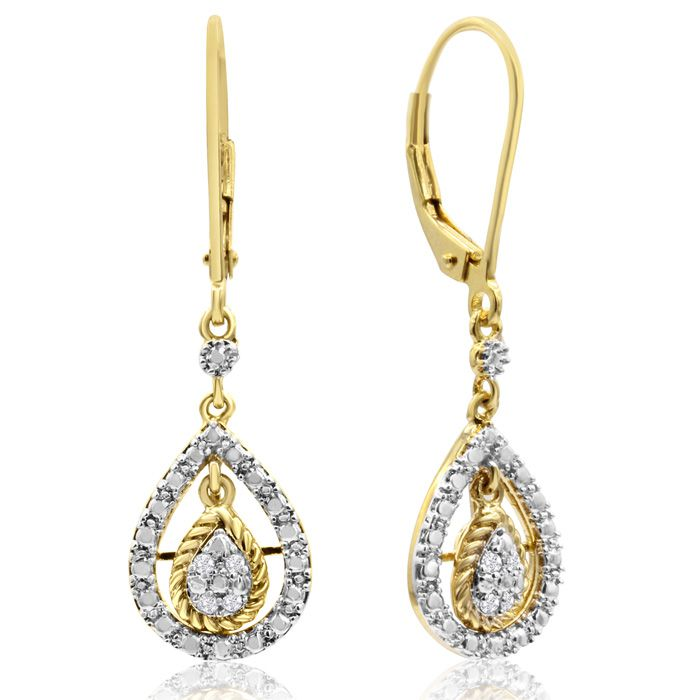 Image of 0.07 Carat Diamond Teardrop Earrings In Yellow Gold Overlay, 1 Inch