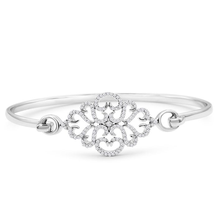Limited Edition Designer 1/2 Carat Diamond Bangle Bracelet In Sterling Silver, 7 Inches 42863