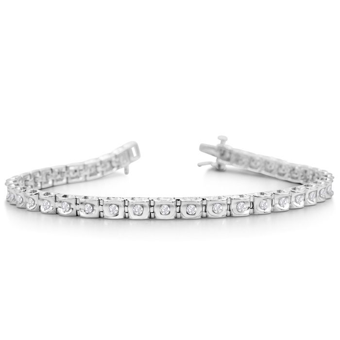 1 Carat Round Diamond Tennis Bracelet In Sterling Silver, 7 Inches