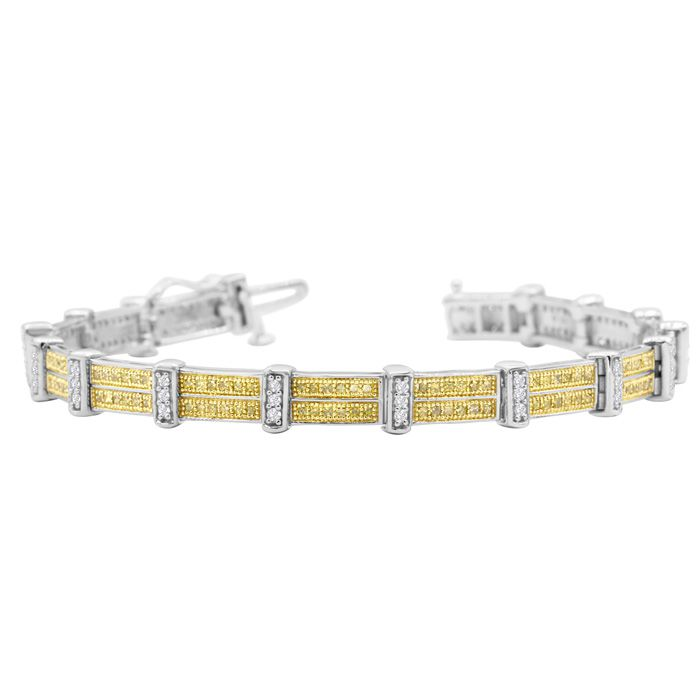 2 Carat Yellow and White Diamond Bracelet In Sterling Silver, 7 Inches
