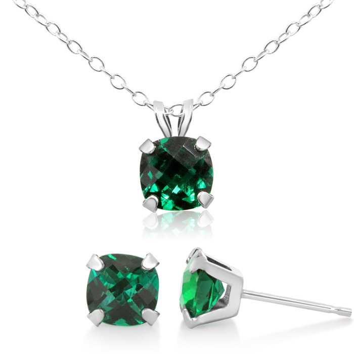 3 1/3 Carat Cushion Cut Created Emerald Necklace and Earring Set In Sterling Silver