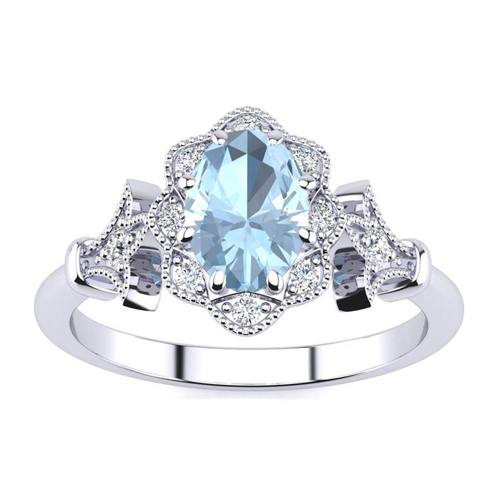 1 Carat Oval Shape Aquamarine and Halo Diamond Vintage Ring In 14 Karat Whit..