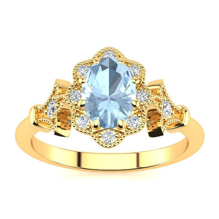 1 Carat Oval Shape Aquamarine and Halo Diamond Vintage Ring In 14 Karat Yell..