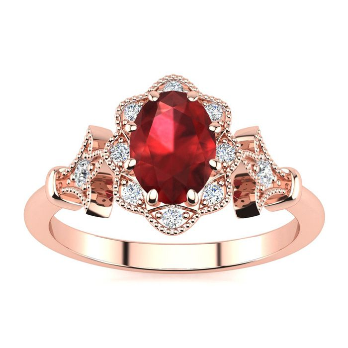 1 Carat Oval Shape Ruby and Halo