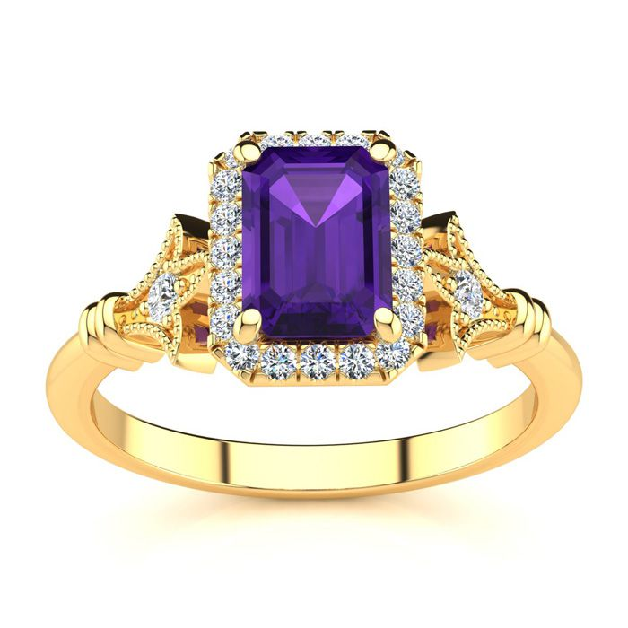 1 Carat Emerald Cut Amethyst and Halo Diamond Vintage Ring In 14 Karat Yellow Gold