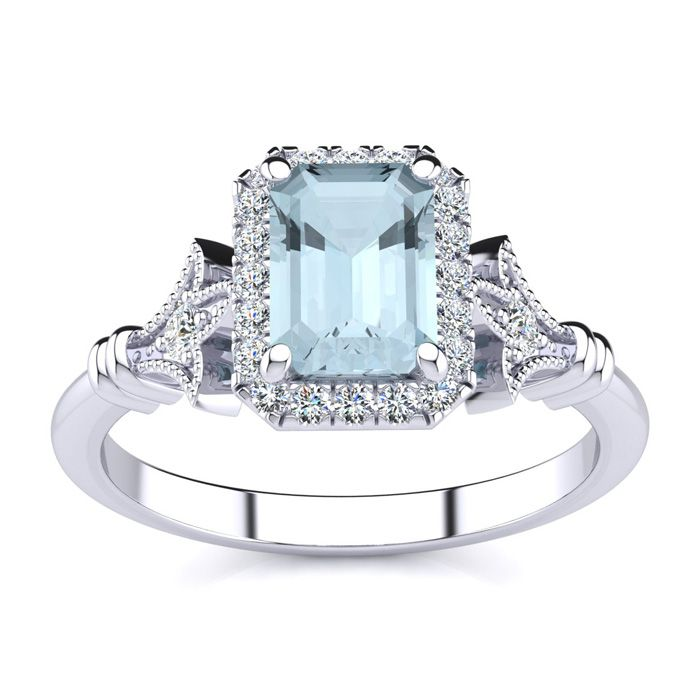 1 Carat Emerald Cut Aquamarine and Halo Diamond Vintage Ring In 14 Karat Whi..