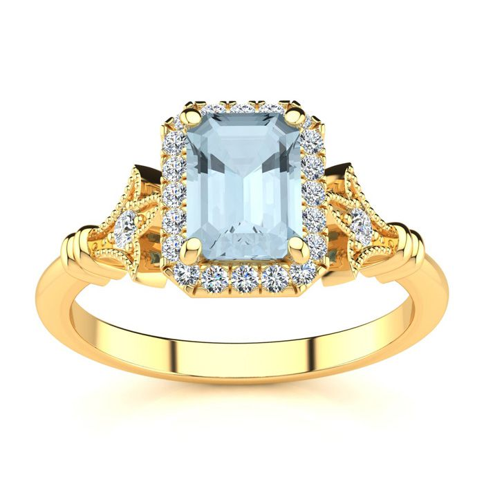 1 Carat Emerald Cut Aquamarine and Halo Diamond Vintage Ring In 14 Karat Yel..