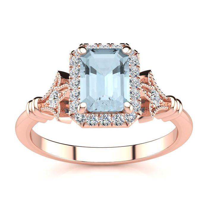1 Carat Emerald Cut Aquamarine and Halo Diamond Vintage Ring In 14 Karat Ros..