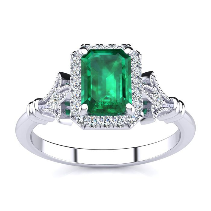 1 Carat Emerald Cut Emerald & Halo Diamond Vintage Ring in 14K White Gold (3.8 g), H-I, Size 4 by SuperJeweler