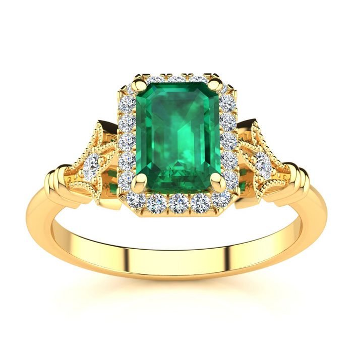 1 Carat Emerald Cut Emerald and Halo Diamond Vintage Ring In 14 Karat Yellow Gold