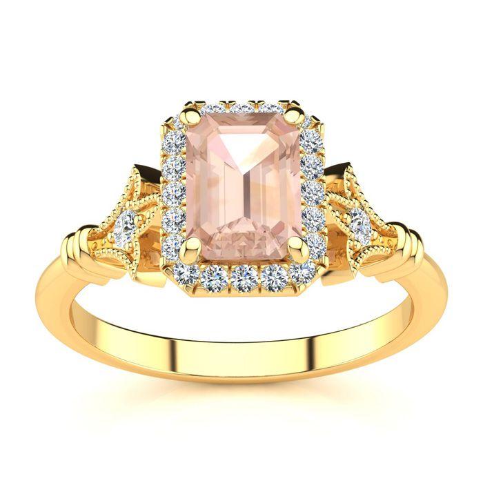 1 Carat Emerald Cut Morganite & Halo Diamond Vintage Ring in 14K Yellow Gold (3.8 g), , Size 4 by SuperJeweler