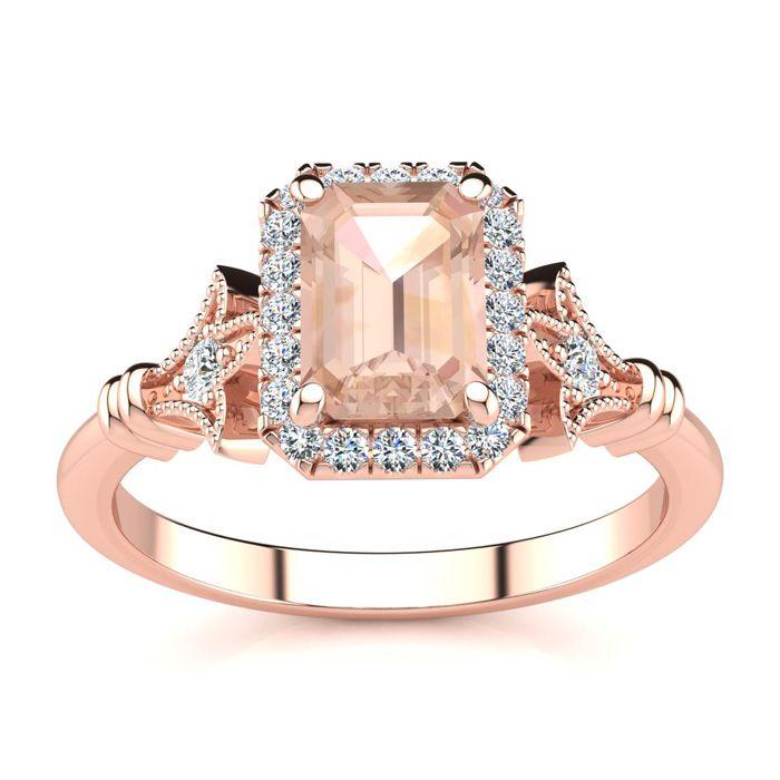 1 Carat Emerald Cut Morganite and Halo Diamond Vintage Ring In 14 Karat Rose Gold