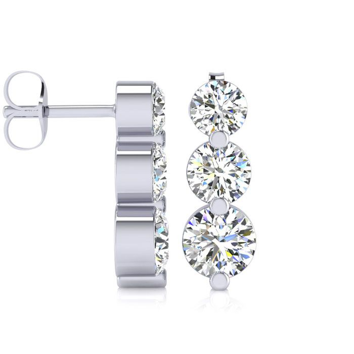 1ct Three Diamond Graduated Drop Earrings In 14K White Gold
