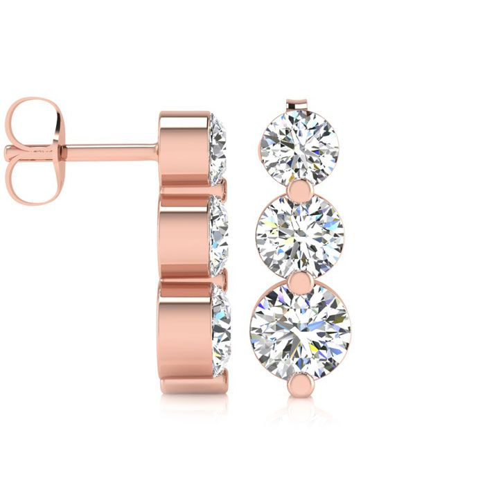 1ct Three Diamond Graduated Drop Earrings In 14K Rose Gold