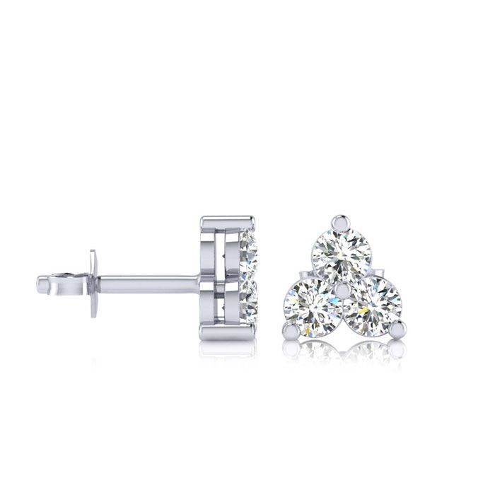 1ct Three Diamond Triangle Stud Earrings In 14K White Gold